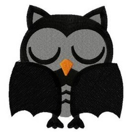 Embroidered Batty Owl Patch Iron/Sew On Owl Wearing A Bat Costume