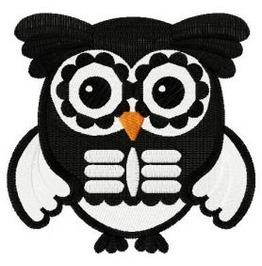 Embroidered Owl Wearing A Skeleton Costume Patch Iron/Sew On