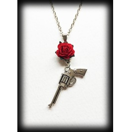 Guns N Roses Necklace, Pistol Pendant With Red Rose