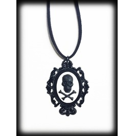 Black And White Skull Gothic Necklace