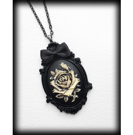 Ivory Rose Cameo Gothic Victorian Necklace