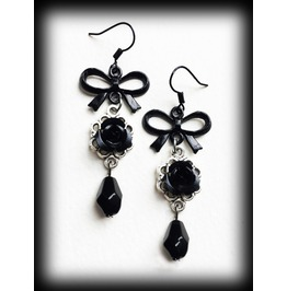 Gothic Victorian Earrings With Black Roses And Black Bows