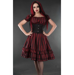 Red Black Striped Gothic Rockabilly Pirate Corset Dress $5 World Shipping