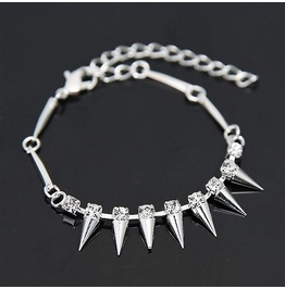 Punk Rock Crystal Rhinestone Silver Plated Rivet Spikes Bangle Bracelet
