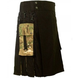 Black Cotton Utility Hybrid Kilt For Men Us Army Camo With Cargo Pockets
