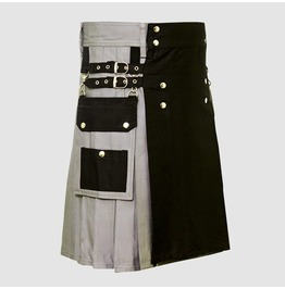 Black And Grey Cotton Hybrid Utility Kilt For Men With Cargo Pockets