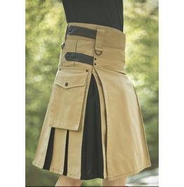 Black And Khaki Hybrid Utility Kilt For Men, Made To Measure Scottish Kilt