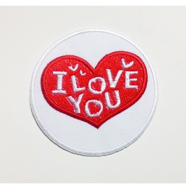 White Circle Of Love/I Love You Embroidered Patch.