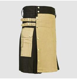 Khaki Black Cotton Utility Hybrid Cargo Kilt For Men All Sizes Available