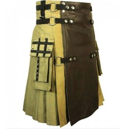 Steam Punk Cotton & Leather Hybrid Brown Utility Kilt Custom Made