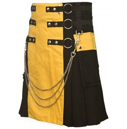 Black Cotton Utility Kilt Hybrid Colors, Custom Size, Standard Length