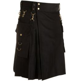 Detachable Pocket Cotton Utility Kilt For Men Scottish Tactical Custom Kilt