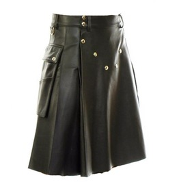 Premium Quality Black Leather Cargo Pockets Kilt Made To Order