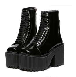 Black Leather Lace Up Gothic Punk Motorcycle Platform Boots For Women