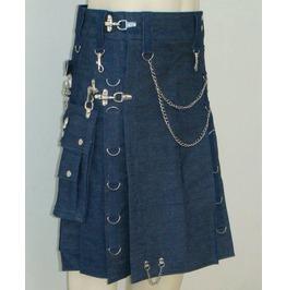 Active Men Cargo Pockets Blue Denim Utility Kilt