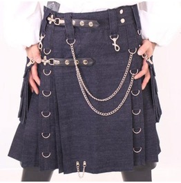 Blue Denim Gothic Style Cargo Pockets Active Men Fashion Utility Kilt