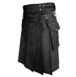 Scottish Deluxe Active Men Utility Fashion Black Denim Kilt Made To Order