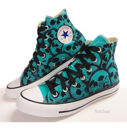 Skull Converse All Stars Blue, Unique Hand Painted Skull Shoes Uni Sex Size