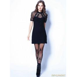 Black Gothic Punk Sexy Tee Dress Dw107