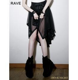Black Gothic Chiffon Asymmetric Skirt Pq 088