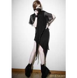 Black Gothic Punk Detachable Two Piece Dress Pq 102
