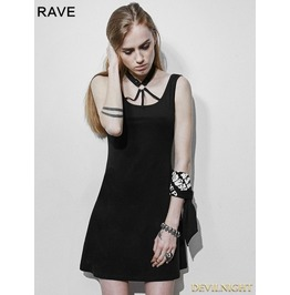 Black Gothic Punk Dark Bandage Backless Dress Pq 109