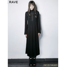 Gothic Dark Cross Hollow Out Trumpet Sleeves Slim Long Dress Pq 183