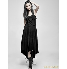 Black Gothic Suspender Asymmetric Long Dress Pq 185