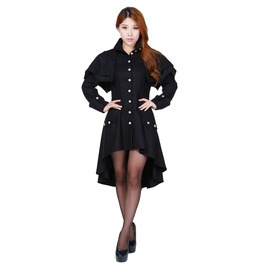 Gothic Steampunk Military Jacket Black Ladies Women Victorian Punk Jacket