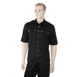 Men's Gothic Military Short Sleeves Shirt Black Punk Shirt