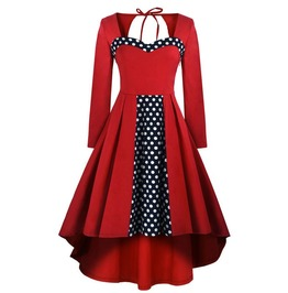 Retro Vintage Styles Polka Dots Red Dress