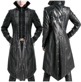 Women Punk Rave Long Coat Jacket Gothic Dieslpunk Black Faux Leather Trench