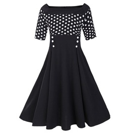 Retro Vintage Styles Polka Dots Black Dress