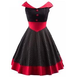 Retro Vintage Styles Polka Dots Black Red Dress