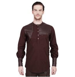 Men Goth Steampunk Vintage Shirt Brown Gothic 100% Cotton Shirt
