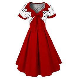 Retro Vintage Styles Bow Tie Red Dress