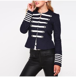 Women Gothic Military Jacket Buttons Decorated Zipper Jacket Tops Long Slee