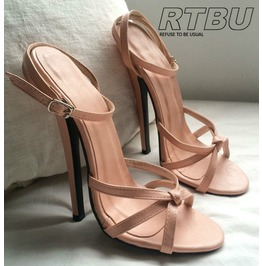 "18cm 7"" Heel Stiletto Fetish Ankle Wrap Strap Tie Front Flesh Beige Pink"