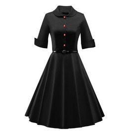Retro Vintage Styles Half Sleeves Black Dress