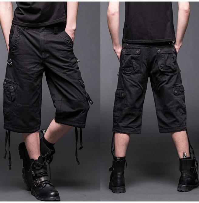 Men Black Cargo Shorts Gothic Trouser 2 Side Pockets D Rings 66b87b059ce
