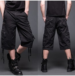 Men Black Cargo Shorts Gothic Trouser 2 Side Pockets D Rings
