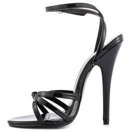 12cm Heel Fetish Sexy Ankle Wrap Strap Sandal Patent Pvc Black 36 46