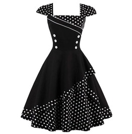 Retro Vintage Styles Black And White Polka Dots Dress