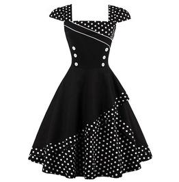 Retro Vintage Styles Black And White Polka Dots Dress