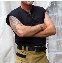 Bespoke Sleeveless Goth Casual Street Shirt With Leather Laces