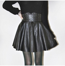 Faux Leather Skater Skirt Pins Womens Harajuku