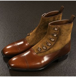 Handmade Brown Button Boots, Men Brown Formal Boot, Men Ankle Leather Boot