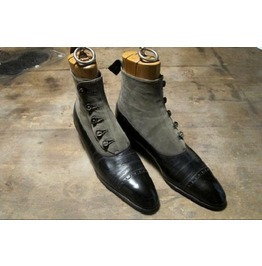 Mens Black And Gray Button Boots, Men Formal Boot, Men Ankle Leather Boot
