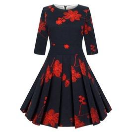Retro Vintage Styles Half Sleeves Flower Print Dress