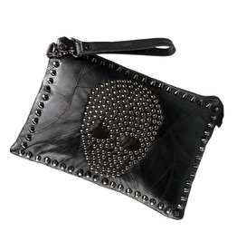 Punk Style Skulls Rivets Women Clutch Messenger Bag